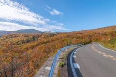 Vista scenica della strada dell'alta montagna alla montagna di Zao Immagine Stock