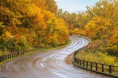 Vista scenica della strada della montagna durante la stagione di autunno Immagini Stock