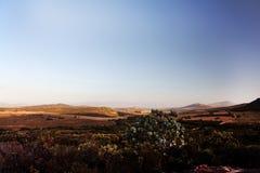 Vista scenica della valle della montagna al tramonto Immagini Stock