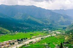Vista scenica della valle di Paro nel Bhutan Fotografie Stock Libere da Diritti