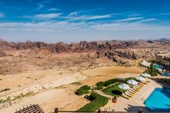 Vista scenica della valle Giordania di PETRA Immagine Stock