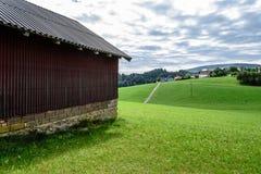 Vista scenica della valle verde nelle alpi austriache Fotografia Stock Libera da Diritti
