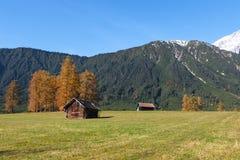 Vista scenica di autunno dal plateau di Mieming (Austria, Tirolo) Fotografia Stock Libera da Diritti