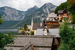 Vista scenica di Hallstatt in alpi austriache Fotografie Stock Libere da Diritti