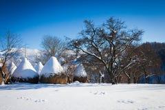 Vista scenica di inverno tipico con le rastrelliere per il fieno Immagine Stock