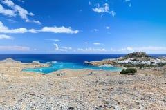Vista scenica di Lindos, isola della Rodi (Grecia) Fotografia Stock