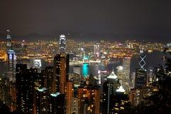 Vista scenica di notte di Hong Kong Fotografia Stock Libera da Diritti