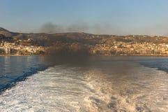Vista scenica di paesaggio urbano e della baia Chania, Grecia Fotografia Stock