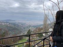 Vista scenica di Volos da Makrinitsa fotografia stock