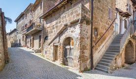 Vista scenica nel romano di Barbarano, villaggio medievale nella provincia di Viterbo, Lazio, Italia Fotografia Stock