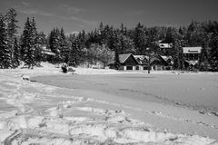 Vista scenica sul jasna congelato meraviglioso del lago in alpi julian in bianco e nero, Kranjska Gora, Slovenia Fotografia Stock Libera da Diritti