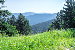 Vista scenica sulle montagne di Pirenei dalla collina Fotografia Stock