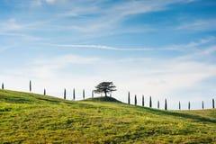 Vista scenica toscana del paesaggio e del cielo della campagna, Toscana, Italia Fotografia Stock Libera da Diritti