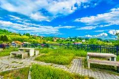 Vista scenica in Zagorje, villaggio di Zelenjak Immagine Stock
