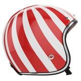 Vista sinistra bianca rossa del casco del motociclo Fotografia Stock