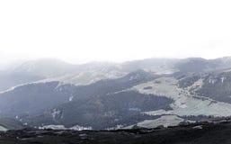 Vista sobre as montanhas de Bucegi, Romênia imagem de stock