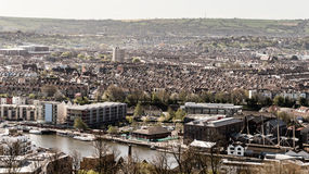 Vista sobre Bristol Row Of Terraced Houses B Inglaterra fotos de stock royalty free