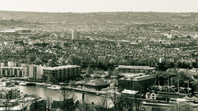 Vista sobre Bristol Row Of Terraced Houses B Inglaterra imagens de stock royalty free