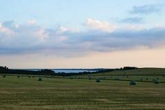 Vista sobre campos com os pacotes da grama após a colheita Imagens de Stock