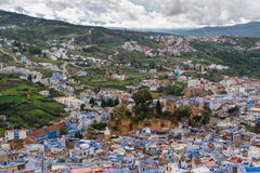 Vista sobre Chefchaouen, Marrocos Foto de Stock Royalty Free