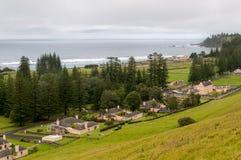 Vista sobre a fileira da qualidade, Kingston, Ilhas Norfolk foto de stock