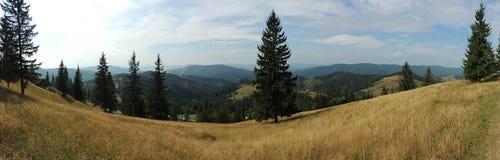 Vista sobre montanhas de Bucovina, Romênia Fotografia de Stock