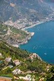 Vista sobre o golfo de Salerno de Ravello, Campania, Itália fotografia de stock