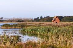 Vista sobre o lago Brokholm em Salling, Dinamarca Fotografia de Stock
