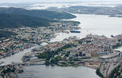 Vista sobre o porto de Bergen Foto de Stock