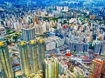 Vista sobre os arranha-céus de Kowloon em Hong Kong foto de stock royalty free
