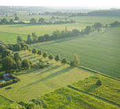 Vista sobre os campos do verde do início do verão fotografia de stock