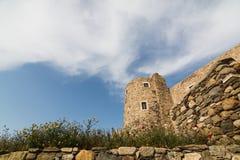 Vista sobre ruínas antigas do castelo de Naxos na cidade velha, Grécia Foto de Stock Royalty Free