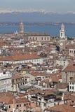 Vista sobre Veneza e as dolomites nevado Fotografia de Stock