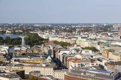 Vista sopra Amburgo, Germania al Alster interno ed esterno Immagini Stock Libere da Diritti