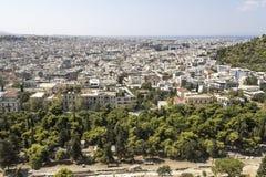Vista sopra Atene, dall'acropoli fotografia stock