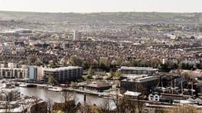 Vista sopra Bristol Row Of Terraced Houses B Inghilterra Fotografie Stock Libere da Diritti