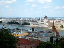 Vista sopra Budapest e Donau Fotografia Stock Libera da Diritti