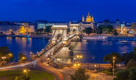 _vista sopra Budapest notte fotografie stock libere da diritti