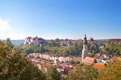 Vista sopra Burghausen, Baviera, Germania Fotografia Stock Libera da Diritti