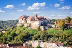 Vista sopra Burghausen, Baviera, Germania Fotografia Stock