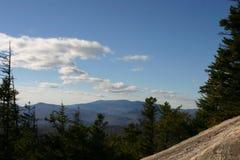 Vista sopra gli alberi da una cima della montagna Fotografie Stock Libere da Diritti
