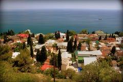 Vista sopra i tetti del Mar Nero Fotografia Stock