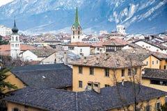 Vista sopra i tetti di Trento, Italia da sopra Fotografia Stock Libera da Diritti