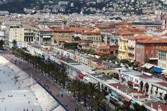 Vista sopra il boulevard ed il mercato di Cours Saleya, Nizza Immagini Stock Libere da Diritti