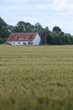 Vista sopra il campo all'azienda agricola storica Eichenhof (acceso azienda agricola della quercia) a Jager, Meclemburgo-Pomerani Fotografia Stock