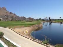 Vista sopra il campo da golf meraviglioso di Aguilon in Spagna immagine stock libera da diritti