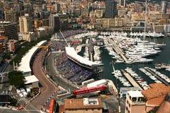 Vista sopra il circuito di Formula 1 della Monaco Fotografia Stock Libera da Diritti