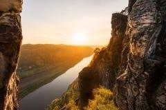 Vista sopra il fiume Elba Fotografia Stock