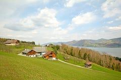 Vista sopra il lago Attersee - coltivi le feste, terra di Salzburger - alpi Austria Fotografia Stock Libera da Diritti