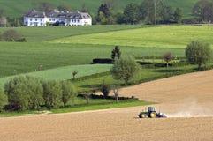 Vista sopra il paesaggio agrario collinoso di Limburgo Fotografia Stock